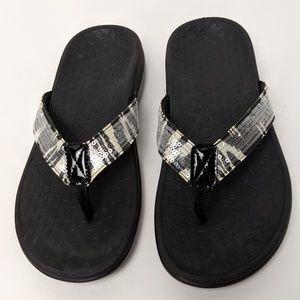 Vionic Tide Zebra Sequin Flip Flop Sandals